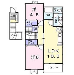 K-13B[202号室]の間取り