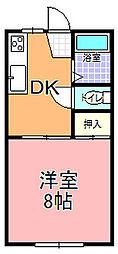 赤塚塩沢コーポ[107号室]の間取り