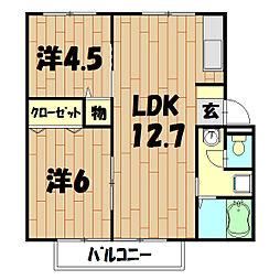 ポプリハイツC棟[203号室]の間取り