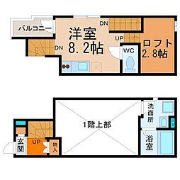 愛知県名古屋市中村区亀島2丁目の賃貸アパートの間取り