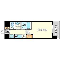 エステムコート新大阪XIIIニスタ 5階1Kの間取り