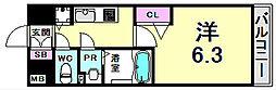 プレサンスみなと元町駅前 3階1Kの間取り