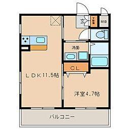 名古屋市営名城線 志賀本通駅 徒歩8分の賃貸マンション 2階1LDKの間取り