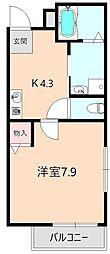 大阪府豊中市上野坂2丁目の賃貸アパートの間取り