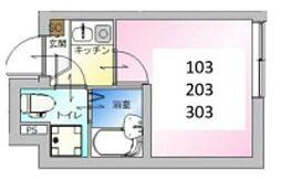 東京メトロ日比谷線 北千住駅 徒歩9分の賃貸アパート 3階1Kの間取り