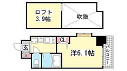 エステムコート神戸県庁前3フィエルテ[201号室]の間取り