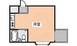 ウエルネス帝塚山 3階ワンルームの間取り