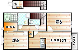 福岡県北九州市小倉南区横代東町2丁目の賃貸アパートの間取り