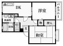 兵庫県西宮市上葭原町の賃貸アパートの間取り