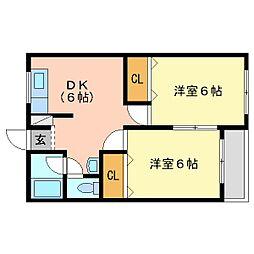 和歌山県和歌山市湊の賃貸マンションの間取り