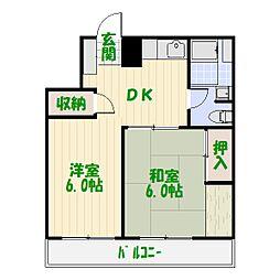 亀有中川マンション[0301号室]の間取り