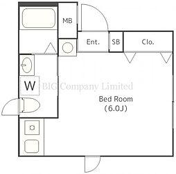 アイオンメグロイースト 3階ワンルームの間取り