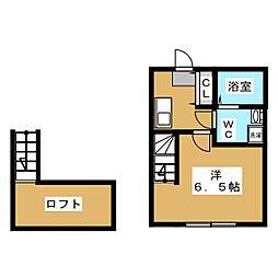 仮称)町田市中町二丁目新築計画 2階1Kの間取り