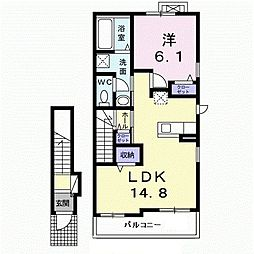 JR久大本線 田主丸駅 徒歩14分の賃貸アパート 2階1LDKの間取り