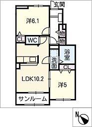 ル グラン A棟[1階]の間取り
