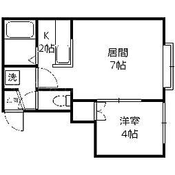 北海道札幌市中央区南五条西13丁目の賃貸アパートの間取り
