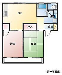 兵庫県西脇市小坂町の賃貸アパートの間取り