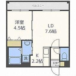 札幌市営南北線 北18条駅 徒歩3分の賃貸マンション 4階1LDKの間取り