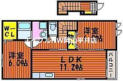 JR山陽本線 瀬戸駅 3.6kmの賃貸アパート 2階2LDKの間取り