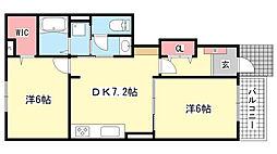 兵庫県神戸市北区有馬町有野の賃貸アパートの間取り
