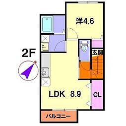 福島県郡山市富田東3丁目の賃貸アパートの間取り