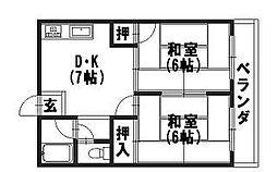 日野ハイツ[303号室]の間取り