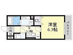 パークサイドメゾン新梅田 3階1Kの間取り
