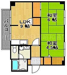 福岡県福岡市中央区小笹5丁目の賃貸マンションの間取り