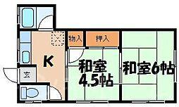 広島県広島市安芸区船越南3丁目の賃貸アパートの間取り
