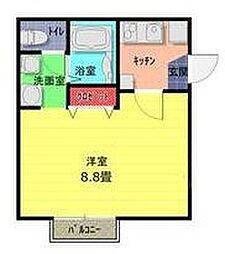 東武野田線 七里駅 徒歩9分の賃貸アパート 1階1Kの間取り