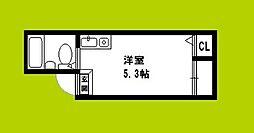 JPアパートメント大阪谷町 1階ワンルームの間取り