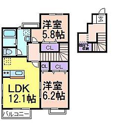 プレーザントハウス A棟[2階]の間取り