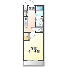 土浦市真鍋新築アパート 2階1Kの間取り