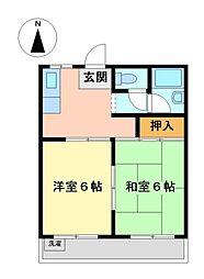 東京都武蔵野市境5丁目の賃貸アパートの間取り