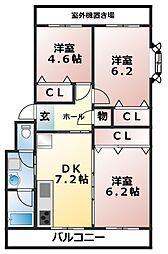 津田沼グリーンハイツ[4階]の間取り