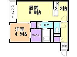仮)宮の沢1-2MS 1階1LDKの間取り