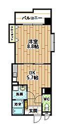 福岡県北九州市八幡西区熊西1丁目の賃貸マンションの間取り