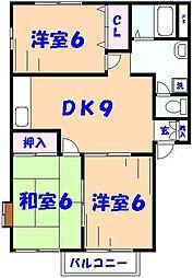 コスモハイツA[1階]の間取り