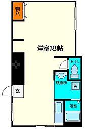 JPアパートメント守口V 1階ワンルームの間取り