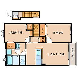 JR関西本線 木津駅 徒歩17分の賃貸アパート 2階2LDKの間取り