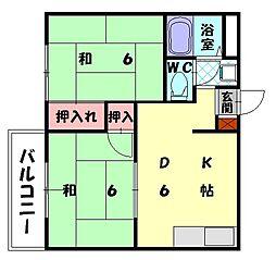コーポタバタ[2階]の間取り