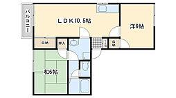 福岡県北九州市小倉南区上貫1丁目の賃貸アパートの間取り
