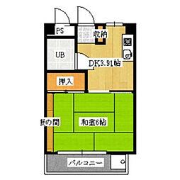 サニーサイド竹園[2階]の間取り