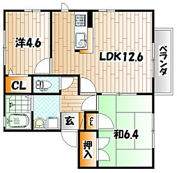 カサベルデ秋桜 A棟[1階]の間取り