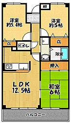 グランパス富田林[2階]の間取り