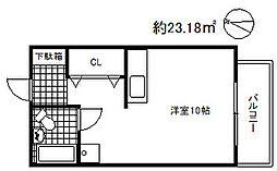 兵庫県神戸市東灘区魚崎中町3丁目の賃貸アパートの間取り
