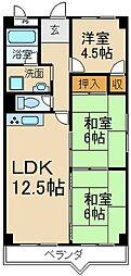 ソシアハイツ・オクダ[4階]の間取り