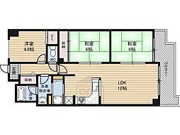 ライオンズマンション野江 3階3LDKの間取り