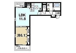 JR片町線(学研都市線) 木津駅 徒歩17分の賃貸アパート 1階1LDKの間取り
