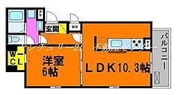 JR山陽本線 上道駅 徒歩16分の賃貸アパート 2階1LDKの間取り